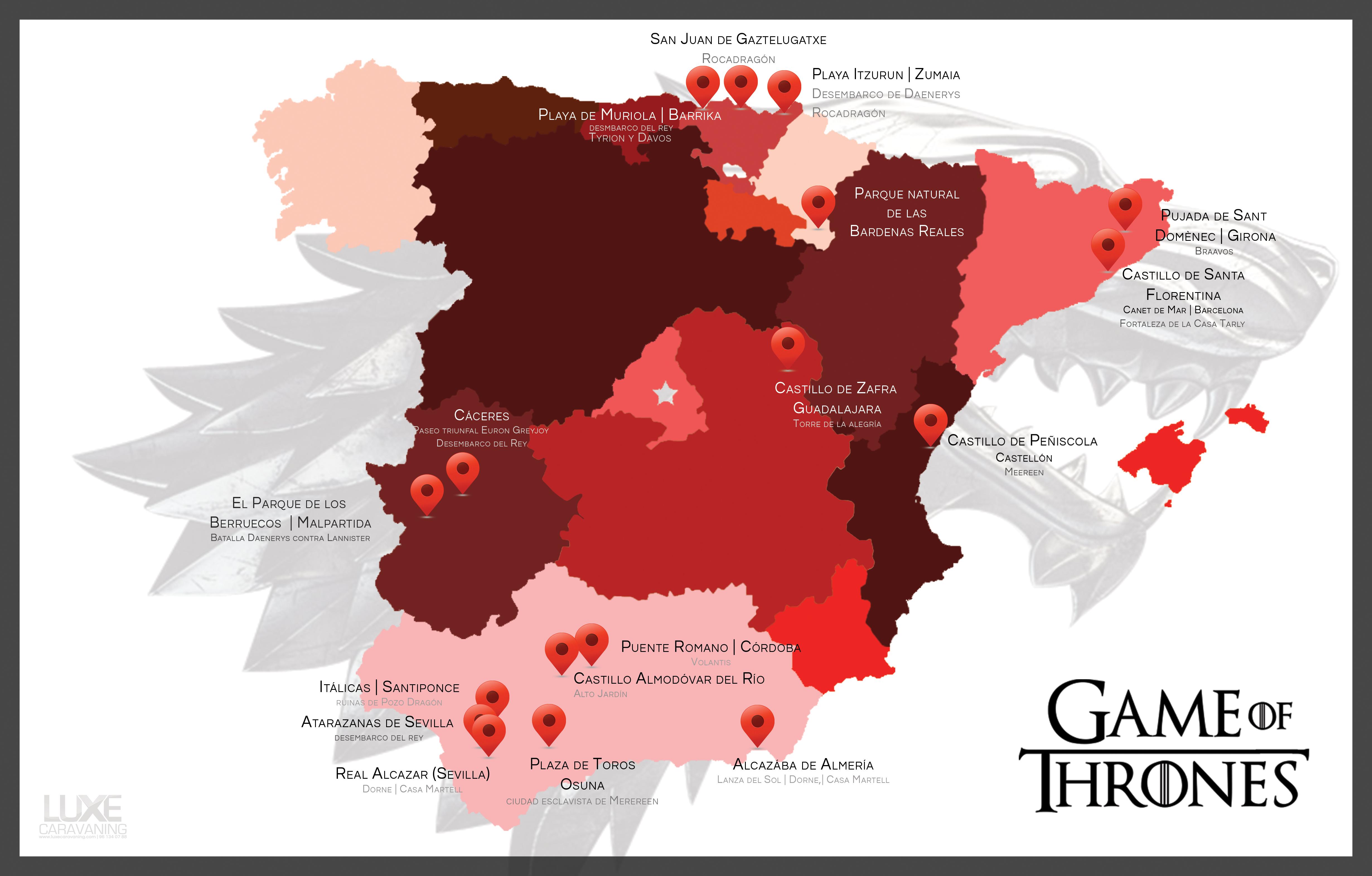 Mapa Juego de Tronos por España